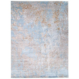 Organic Area Rug in Silk and Wool by Carini, 9'x12' For Sale