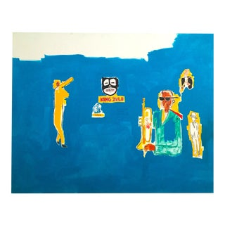 "Jean Michel Basquiat Estate Pop Art Original Fine Art Print "" King Zulu "" 1986 For Sale"