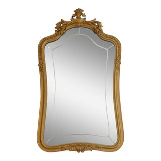 1920s Vintage Giltwood Mirror W/ French Basket Crest For Sale