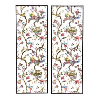 Pair of Framed Scalamandre Chinoise Exotique Wallpaper Panels For Sale