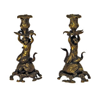 19th Century French Sea Nymph Riding a Turtle Bronze Candlesticks - a Pair For Sale