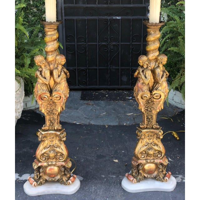Wood Huge Antique French Giltwood Figural Cathedral Floor Lamps - a Pair For Sale - Image 7 of 8