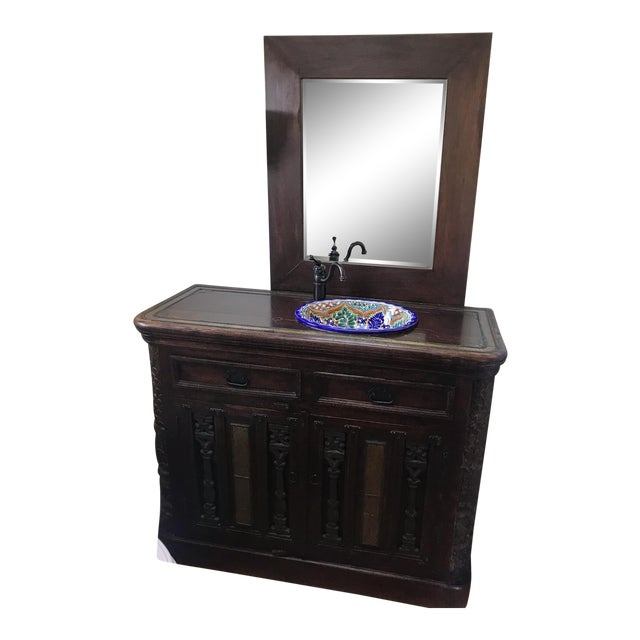 Small Antique Spanish Style Carved Oak Vanity With Sink Chairish