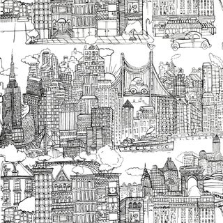 Sample - Schumacher New York New York Wallpaper in Black on White For Sale