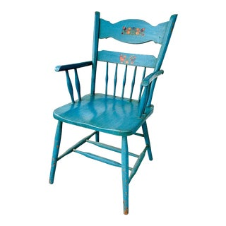 Vintage Folk Art Painted Pennsylvania Dutch Wood Armchair For Sale