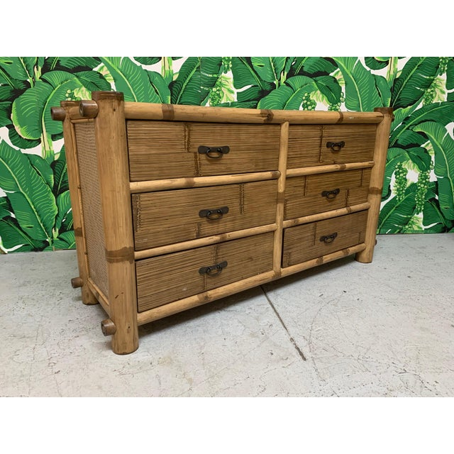 Bamboo and Rattan Double Dresser For Sale - Image 10 of 10