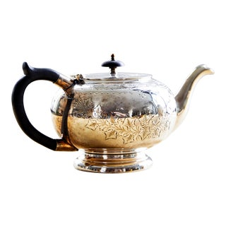 English Teapot With Ebonized Wood Handle For Sale