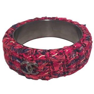 Chanel Red Tweed and Steel Bangle Bracelet For Sale