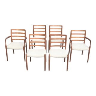1970s Vintage Danish Modern Teak Dining Chairs by Jl Moller- Set of 6 For Sale