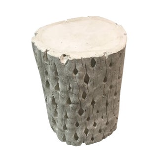 1970's White Plaster Side Table Stool
