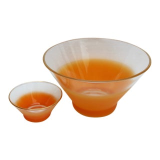 Orange Ombre Blendo Bowls - A Pair