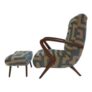 Italian Modernist Lounge Chair With Footrest by Guglielmo Ulrich For Sale