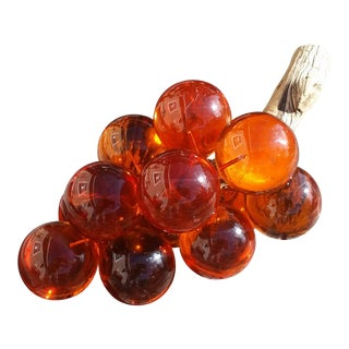 Vintage Amber-Colored Lucite Grape Cluster For Sale