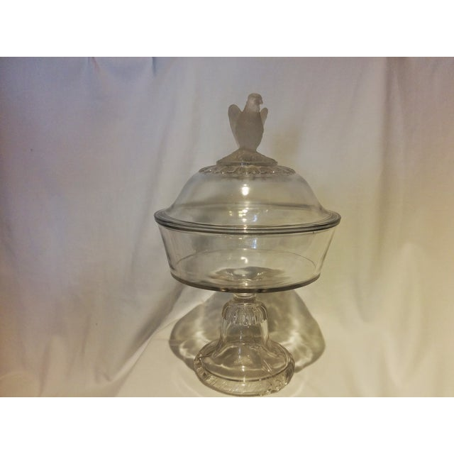 American Frosted Eagle Glass Lidded Compote - Image 2 of 7