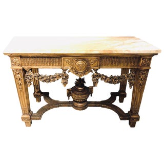 Louis XV Style Giltwood Marble-Top Console, Hall or Center Table For Sale