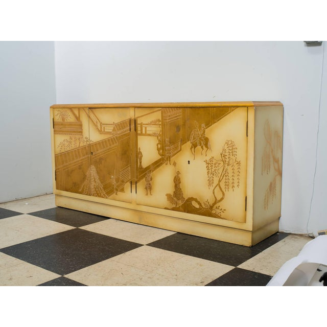 Painted Chinoiserie Credenza For Sale - Image 4 of 10