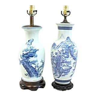 Chinese Porcelain Blue White Vases Table Lamps - a Pair