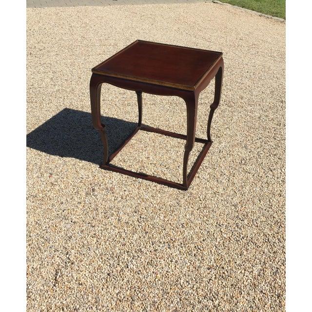 Piedouche Lacquer End Table with Grain De Café Gold Striping - Image 3 of 4