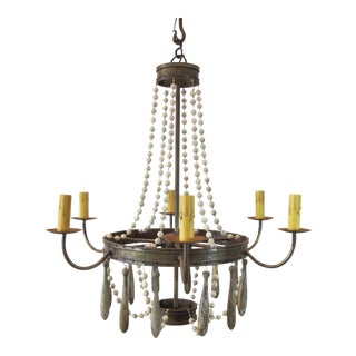 Traditional Iron Chandelier With Glass Beads and Wood Bobbles For Sale