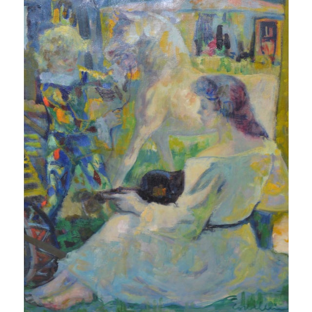 "Luigi Corbellini (1901-1968) ""The White Horse"" Original Oil Painting C.1950s For Sale In San Francisco - Image 6 of 10"
