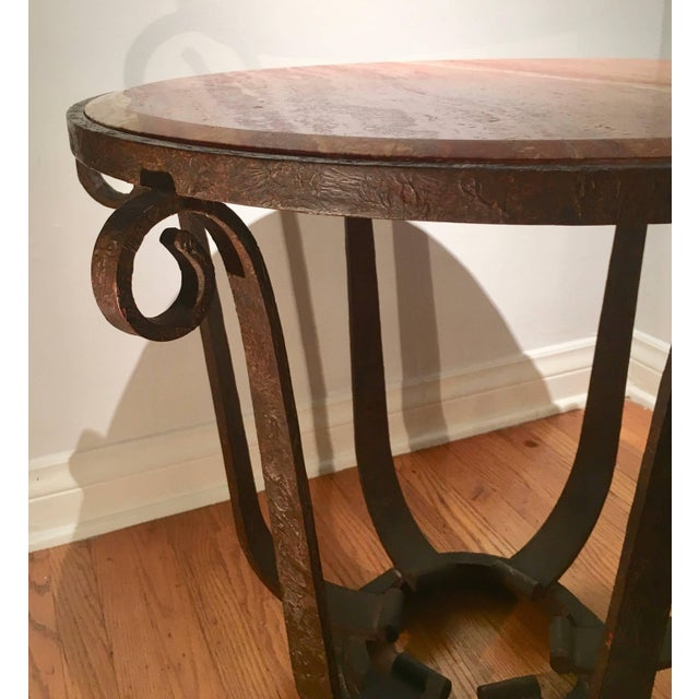 Raymond Subes After Raymond Subes Wrought Iron and Marble Table For Sale - Image 4 of 6