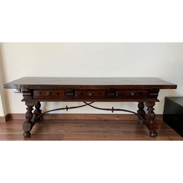 19h Spanish Bench or Low Console Table With Marquetry Drawers and Iron Stretcher For Sale - Image 4 of 11