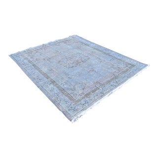 Skye Blue Overdyed Turkish Hand Knotted Rug Oushak Area Rug- 6′8″ X 7′8″ For Sale