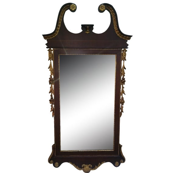Vintage Federal Style Banded Mahogany Gold Gilt Frame Mirror For Sale - Image 5 of 5