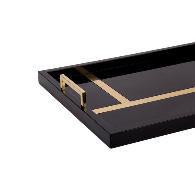 Contemporary Flair Collection Righe Tray in Black / Brass For Sale - Image 3 of 4