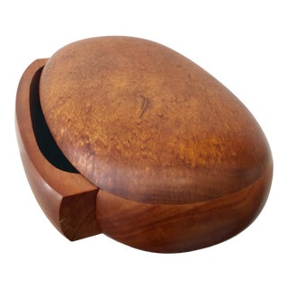 Koa Wood Oval Jewelry Box With Velvet Lined Drawer by Dean Santner For Sale