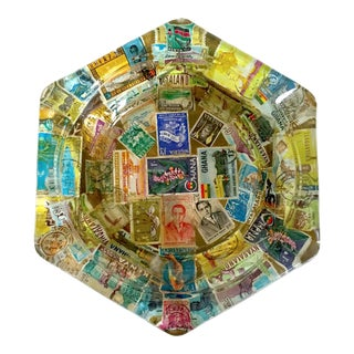 Vintage Mid Century Hand Decoupage African Postage Stamps Folk Art Glass Ashtray For Sale