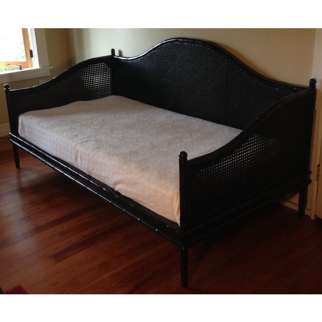 Wicker Faux Bamboo Crate and Barrel Day Bed - Image 2 of 7