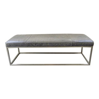Vintage Mid Century Modern Leather and Chrome Bench For Sale