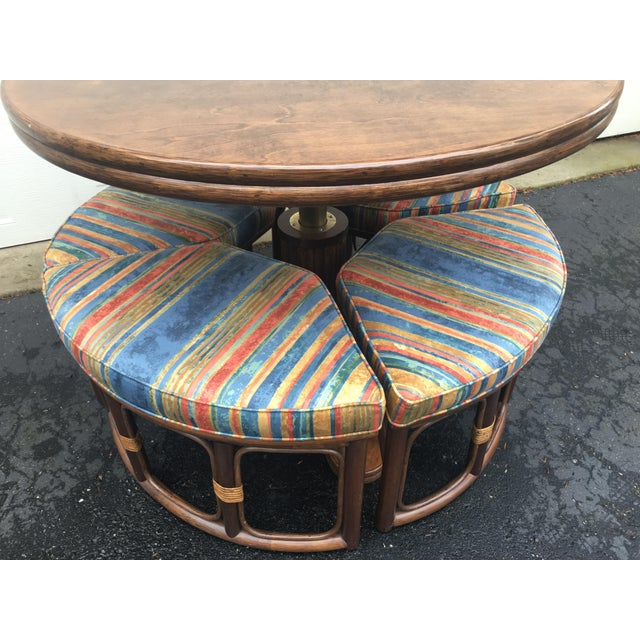 1970s 1970's Vintage Walnut Adjustable Games Table & Stools- 5 Pieces For Sale - Image 5 of 11