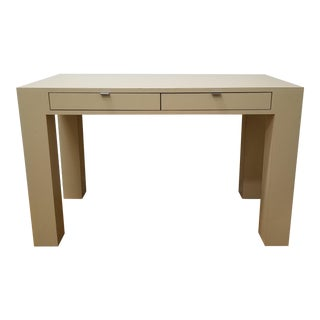 1970s Mid Century Modern Beige Laminate Parsons Writing Desk For Sale