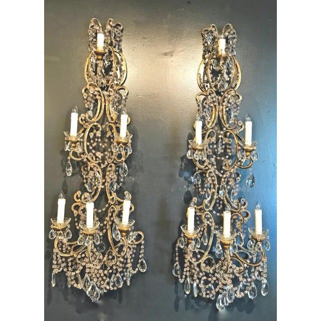 Pair Italian Beaded Sconces, C. 1950s For Sale In Los Angeles - Image 6 of 7