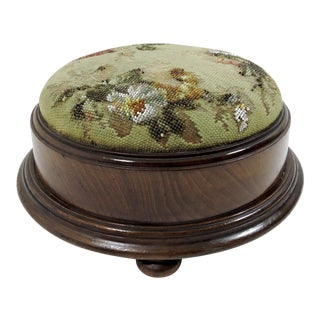 Early 20th Century Antique Embroidered Victorian Glass Beaded Round Wood Foot Stool For Sale