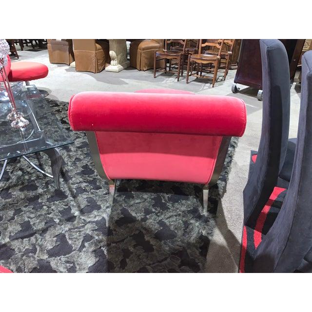 Modern Christopher Guy Red Velvet Lounge Chaise For Sale - Image 3 of 6