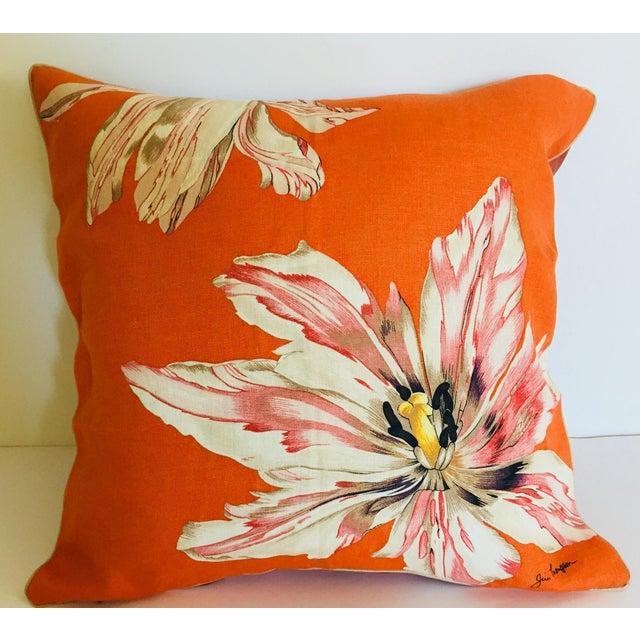 Mid Century Jim Thompson Orange Designer Decorative Pillow With Lotus Flower Print For Sale - Image 10 of 10