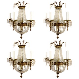 Set of Four French Style Crystal Sconces For Sale