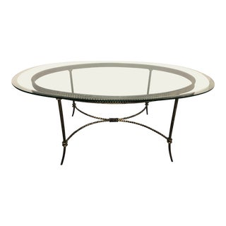 Oval Glass + Twisted Metal Coffee Table For Sale
