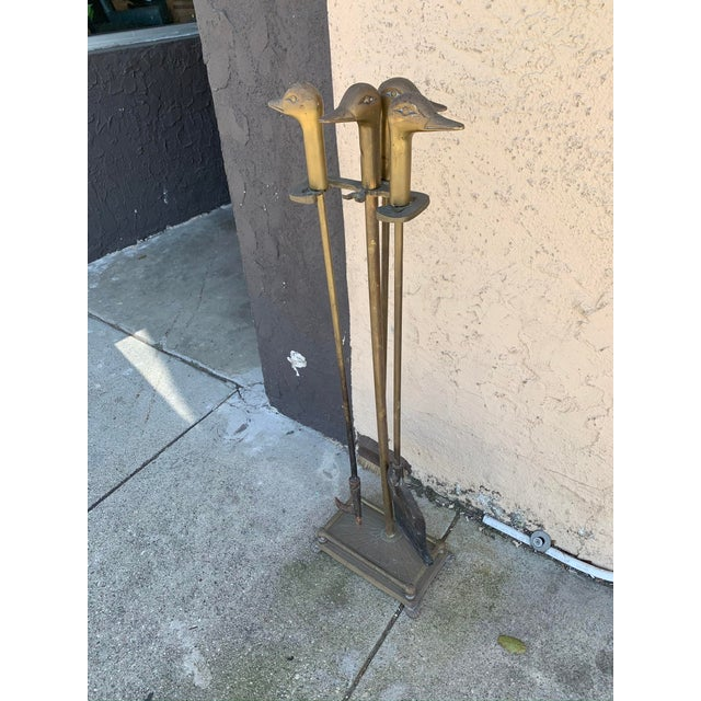 Brass Mid-Century Brass Fireplace Tool Set With Duck Heads For Sale - Image 8 of 8