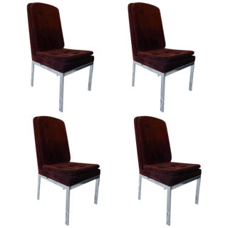 Milo Baughman Chrome and Velvet Dining Chairs - Set of 4