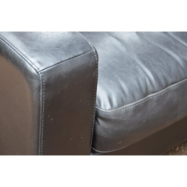 Silver Natuzzi Italian Modern Black Leather Club Chair For Sale - Image 8 of 9