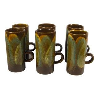 Vintage Modern Brown Drip Glaze Irish Coffee Mugs - Set of 6 For Sale