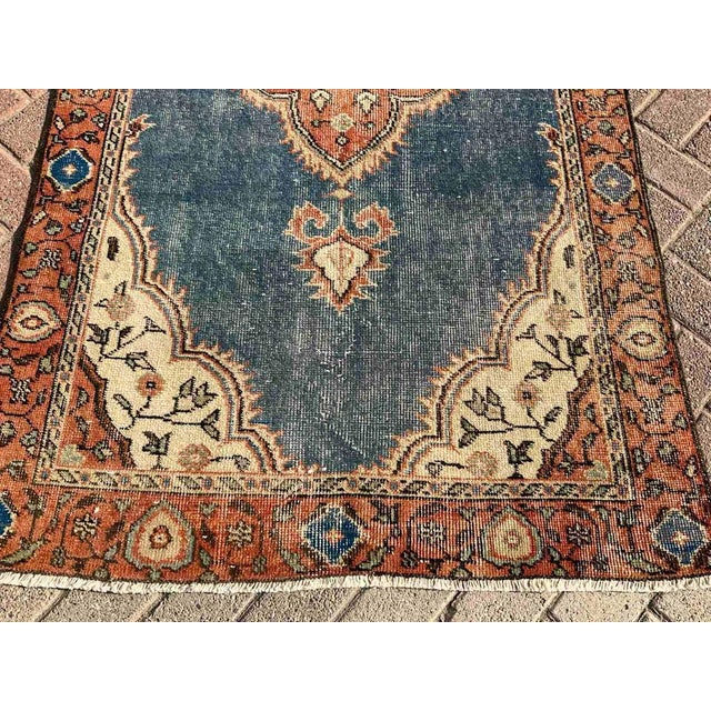 Navy Blue Vintage Hand Knotted Turkish Area Rug For Sale - Image 8 of 10
