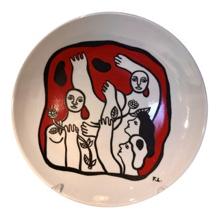 Vintage Mid-Century Fernand Leger Painted Plate For Sale