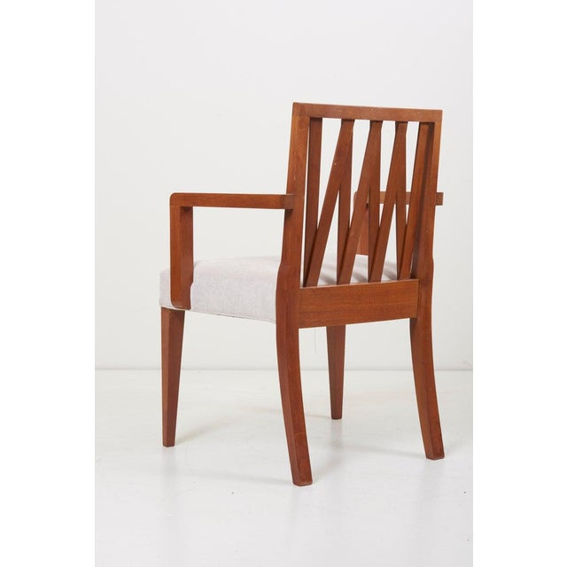 Newly Restored Set of 8 Lattice Back Dining Chairs Attributed to Paul T. Frankl For Sale - Image 11 of 13