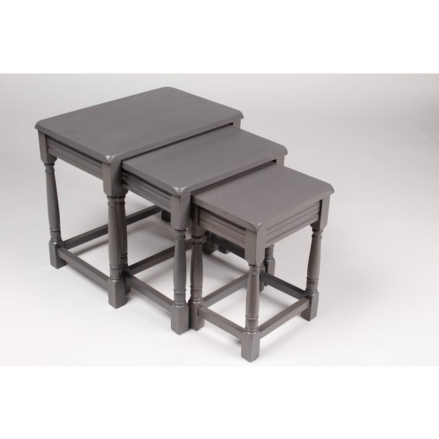 Jacobean-Style Gray Nesting Tables - Set of 3 - Image 2 of 6