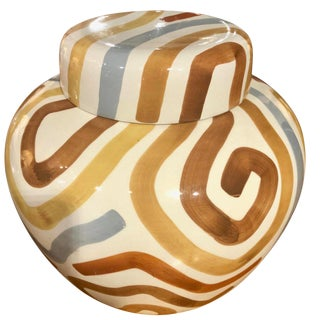 Tiffany & Co Este Ceramiche Large Striped Ginger Jar For Sale